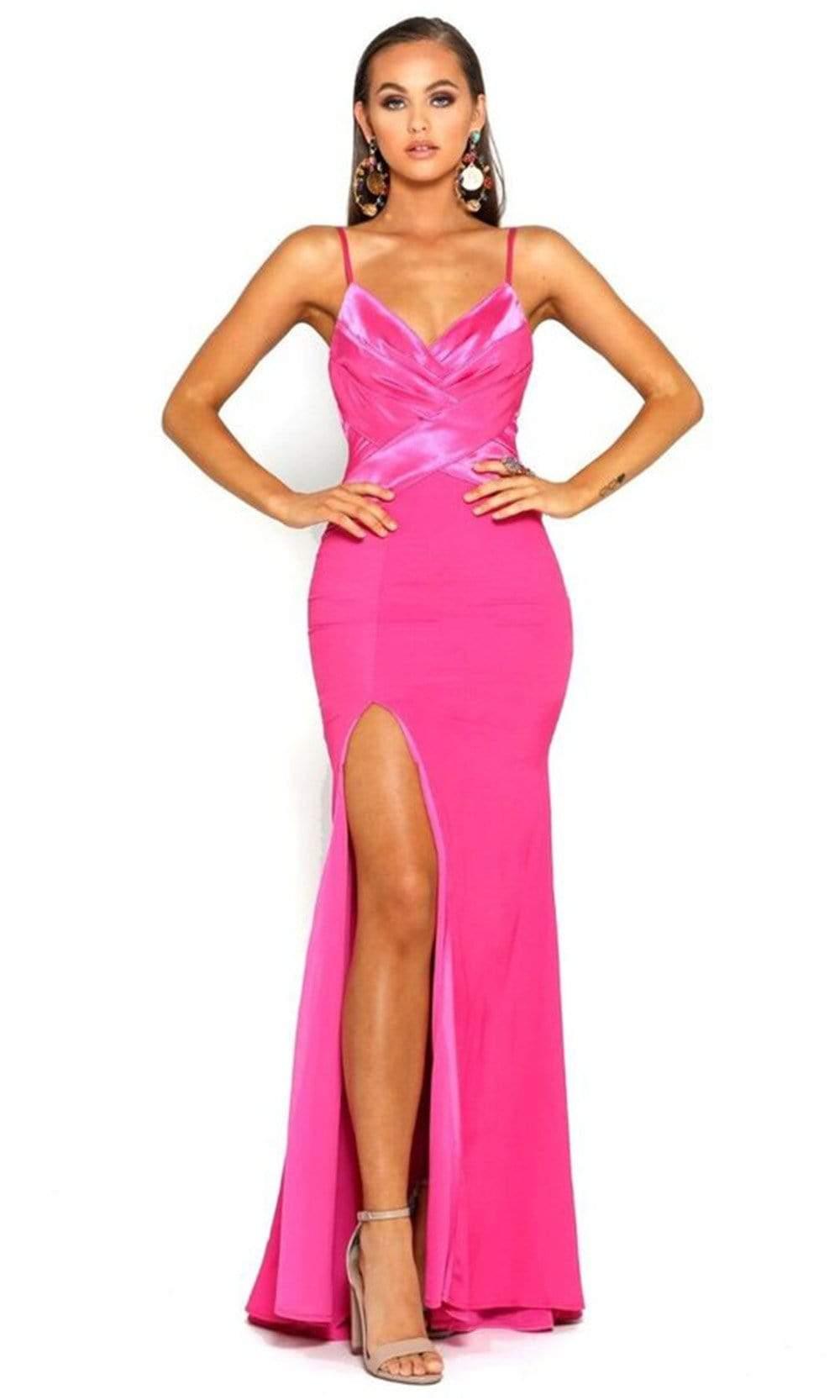 Portia and Scarlett - PS1912 V Neck High Slit Long Train Mermaid Gown from Portia and Scarlett