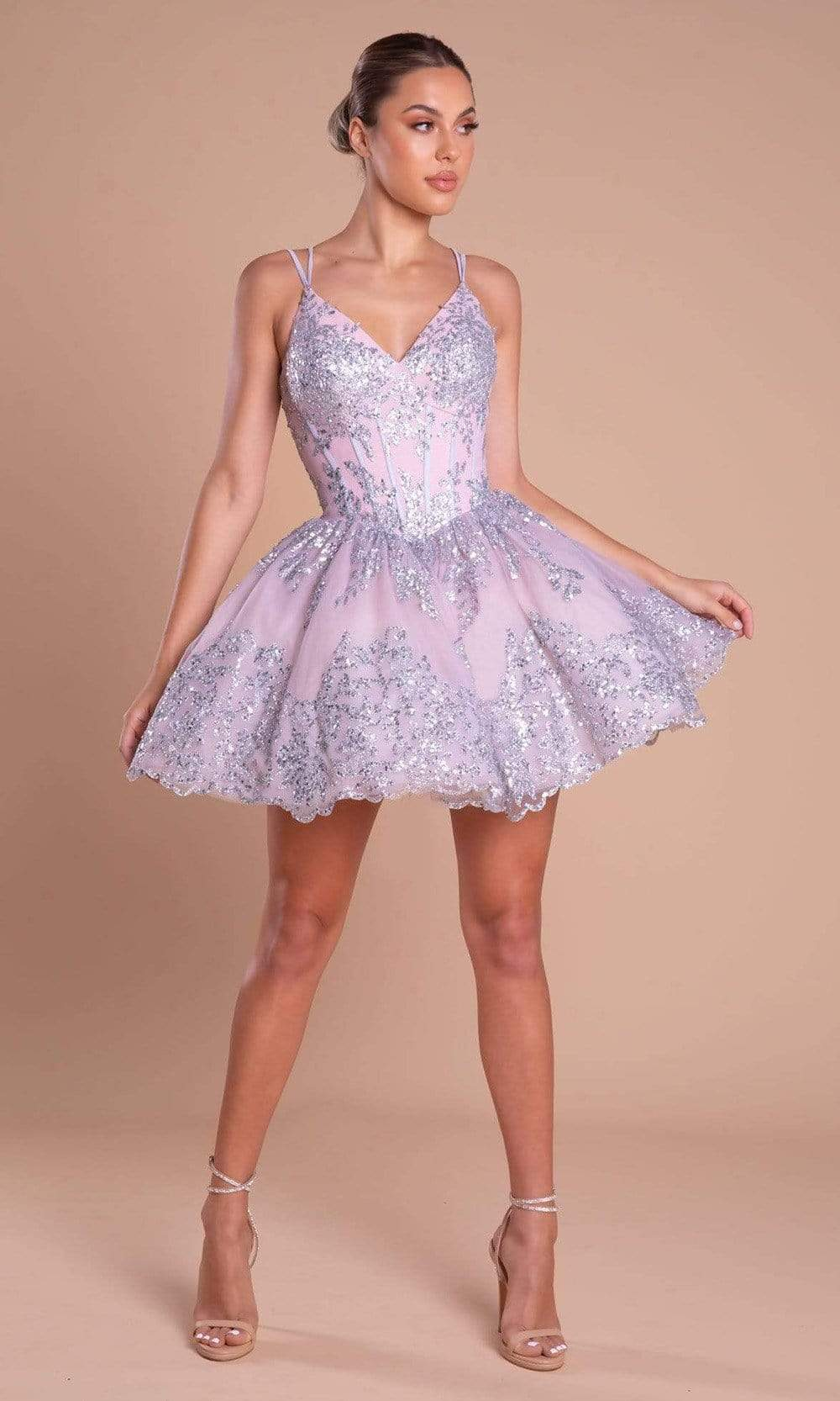 Portia and Scarlett - PS21008 Glitter Accented Short A-Line Dress from Portia and Scarlett