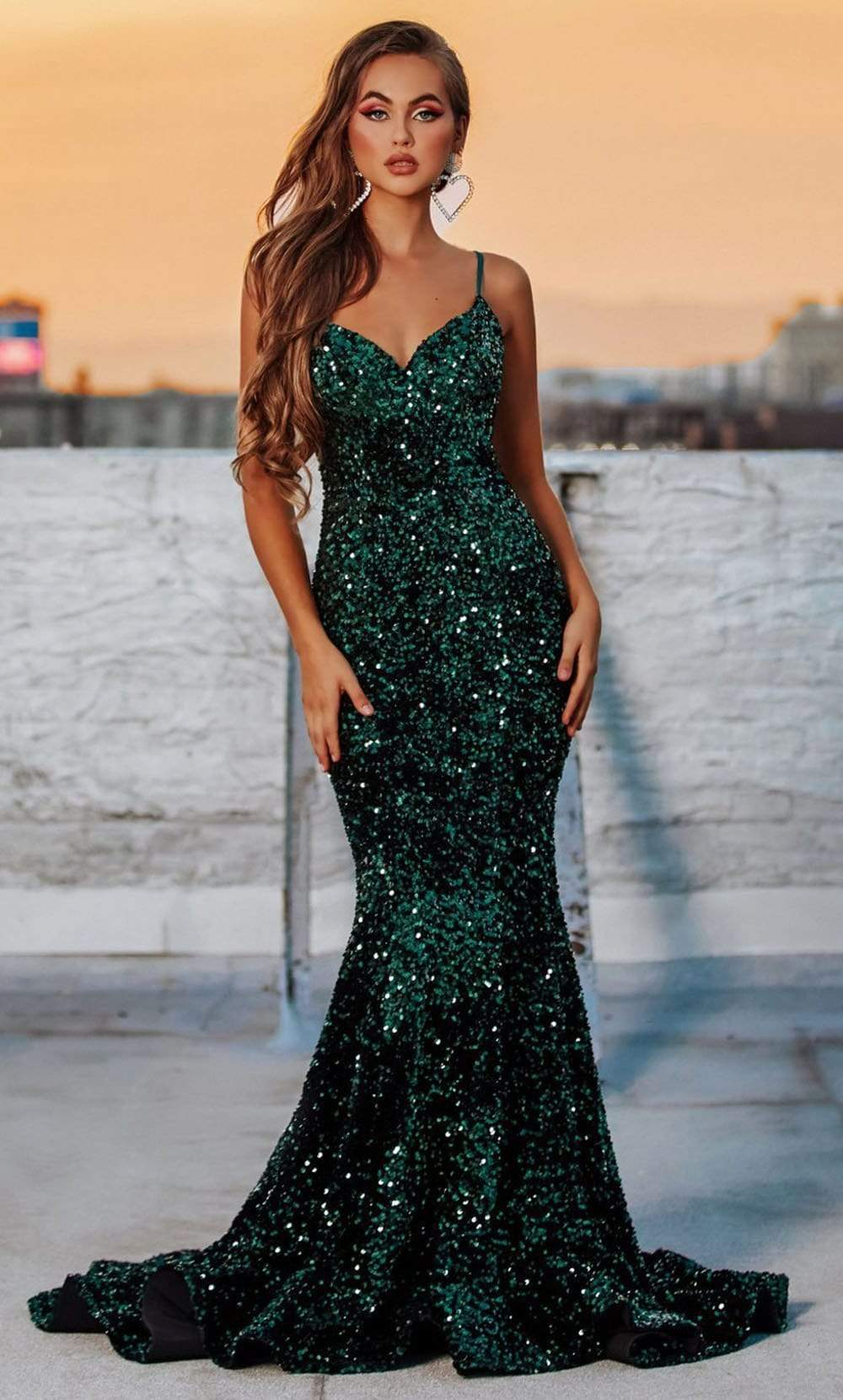 Portia and Scarlett - PS21030 Spaghetti Strap Full Sequin Mermaid Gown from Portia and Scarlett