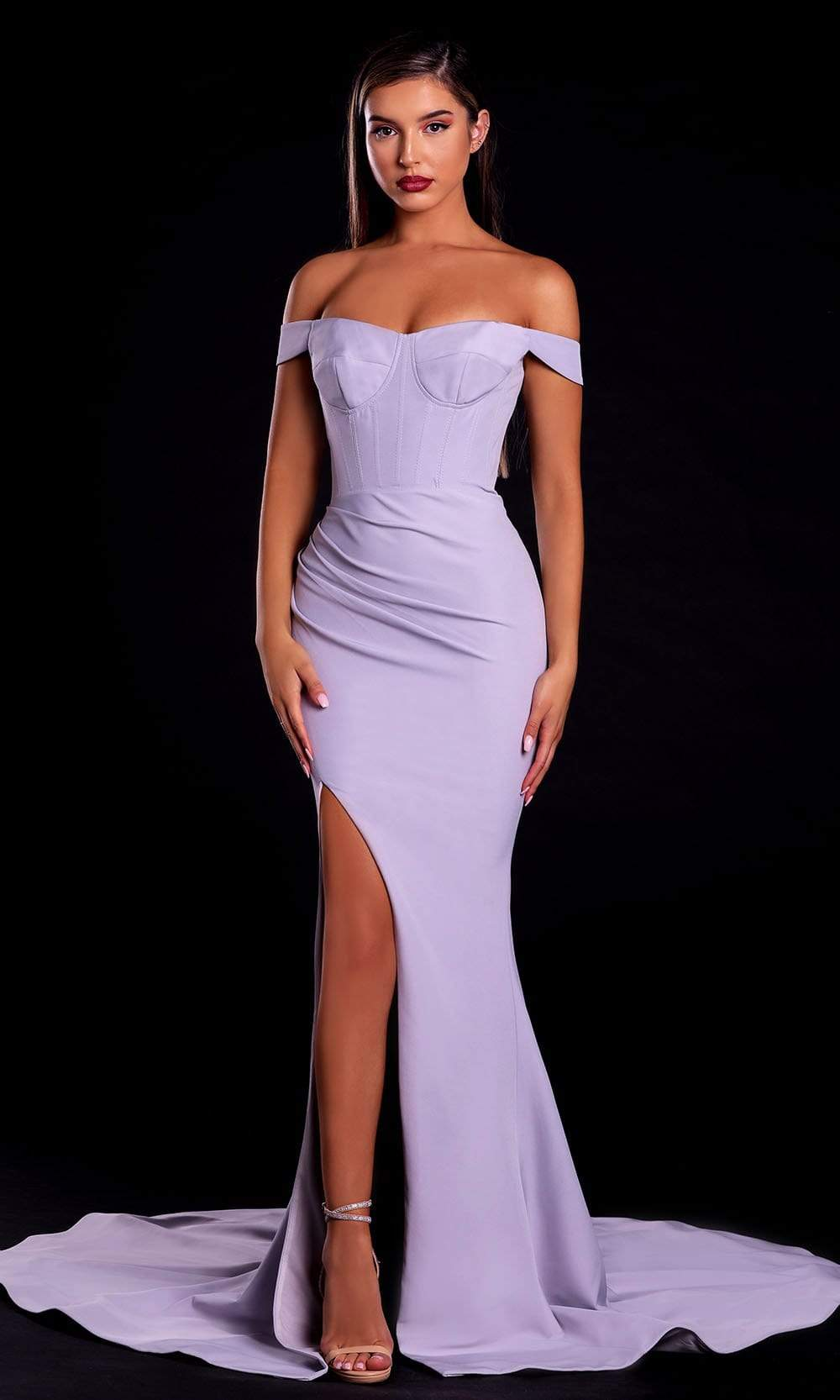 Portia and Scarlett - PS21045 Off Shoulder Bustier Fitted Slit Gown from Portia and Scarlett