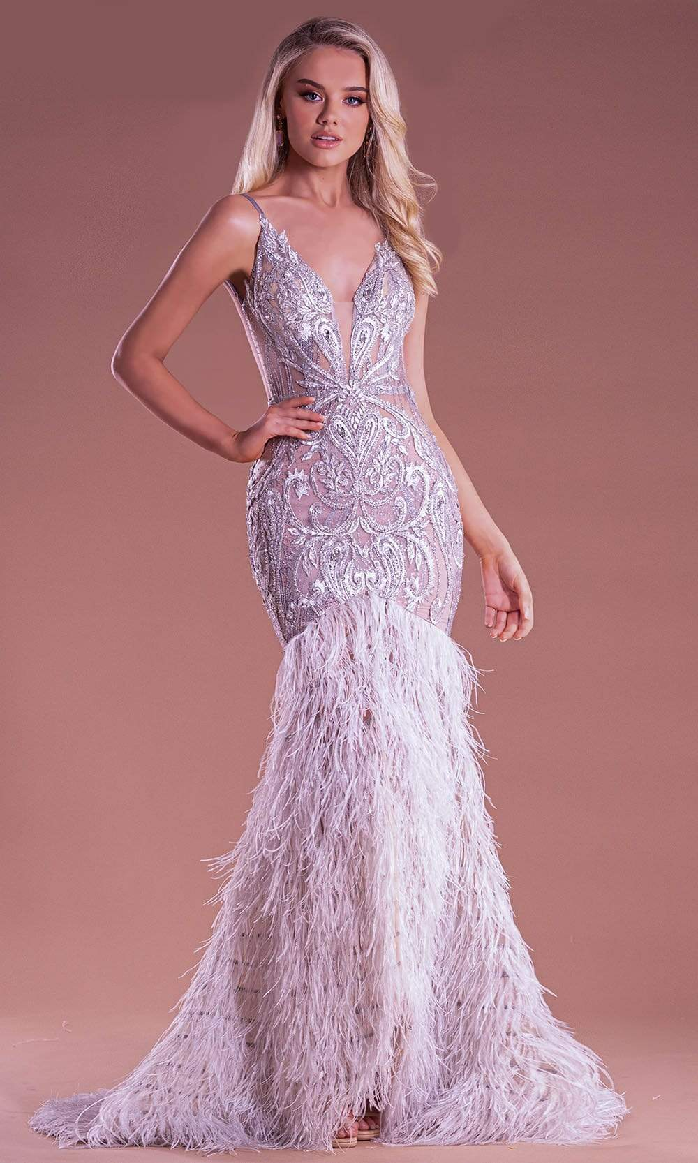 Portia and Scarlett - PS21128 Beaded Bodice Feather Mermaid Gown from Portia and Scarlett