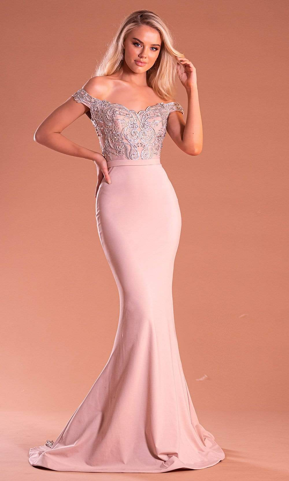 Portia and Scarlett - PS21190 Embroidered Off Shoulder Mermaid Dress from Portia and Scarlett
