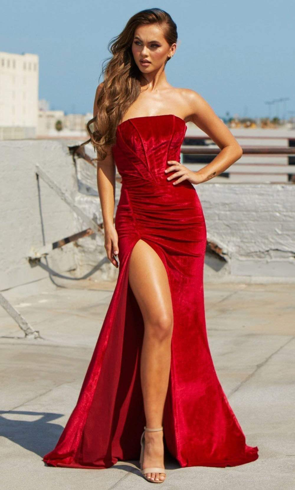 Portia and Scarlett - PS21206 Strapless Velvet Trumpet Gown from Portia and Scarlett