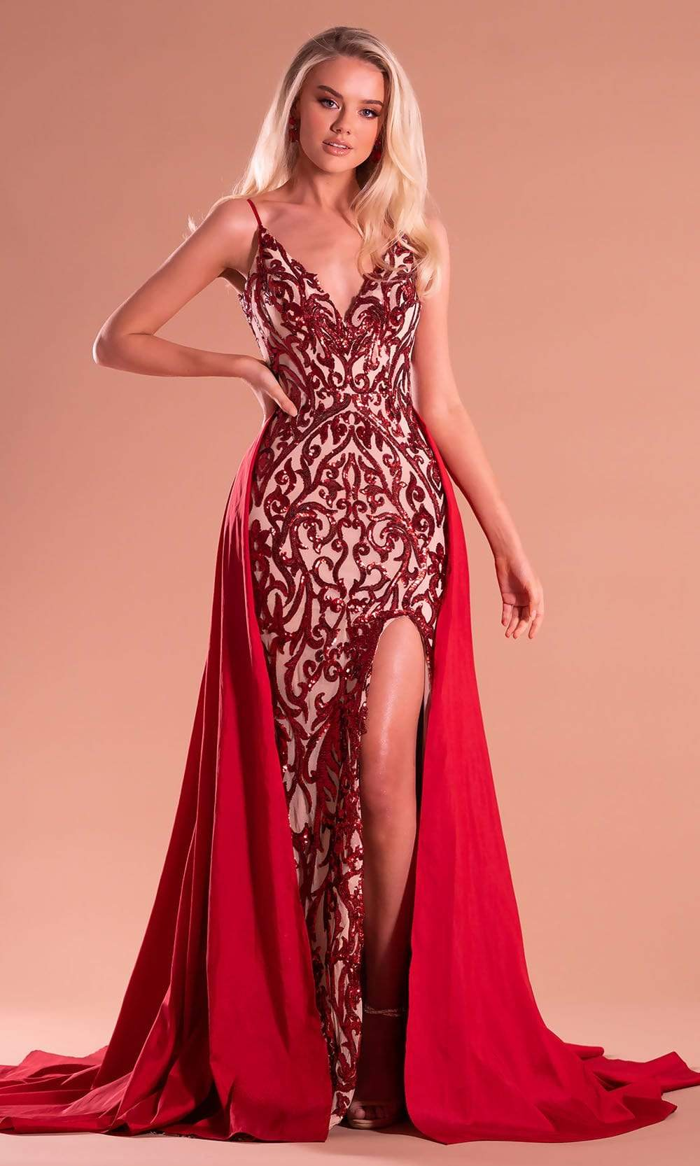 Portia and Scarlett - PS21223 Sequined High Slit Overskirt Gown from Portia and Scarlett