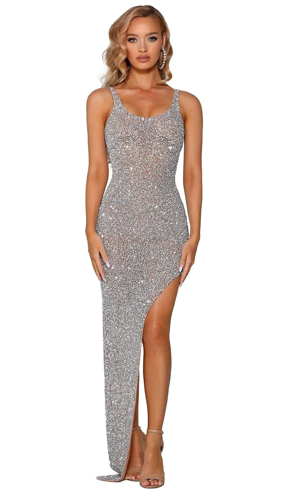 Portia and Scarlett - PS4098C Embellished Scoop Dress With Slit from Portia and Scarlett