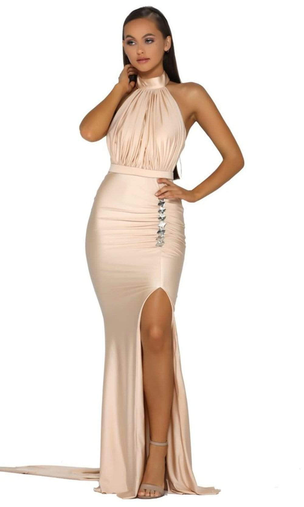 Portia and Scarlett - PS5007 High Halter Trumpet Dress With Slit from Portia and Scarlett