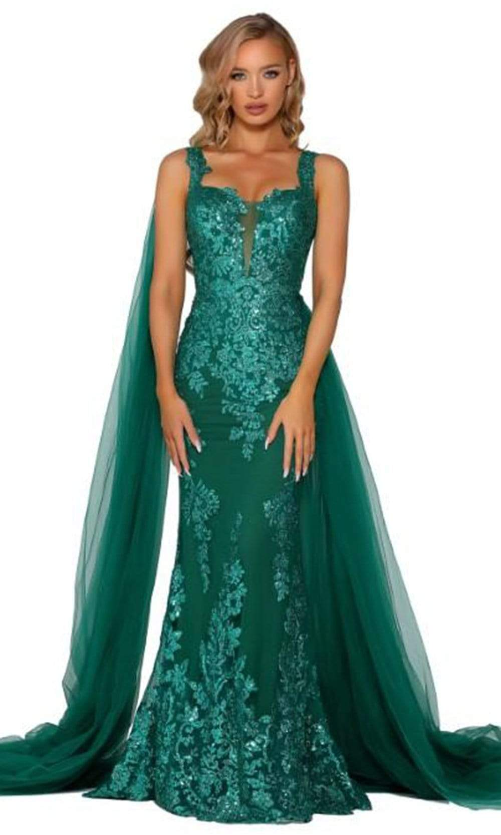 Portia and Scarlett - PS5011 Sequin Embroidery Drape Cape Evening Gown from Portia and Scarlett