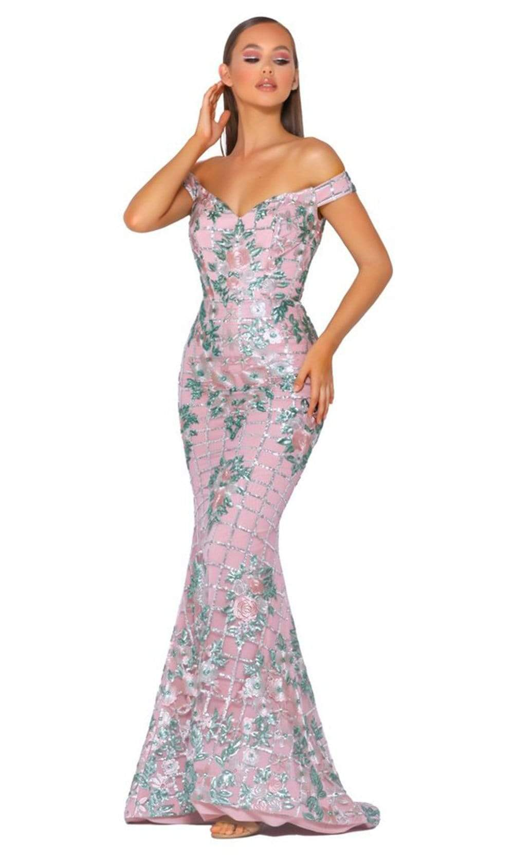 Portia and Scarlett - PS5054 Off Shoulder Floral Sequin Mermaid Gown from Portia and Scarlett