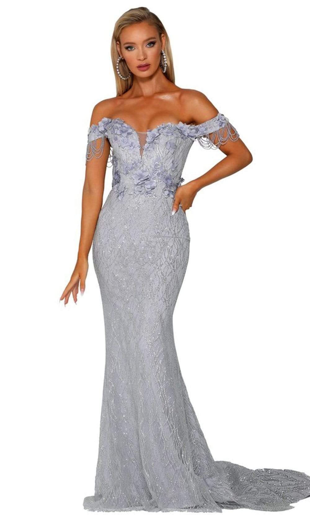 Portia and Scarlett - PS6001 Off Shoulder Glitter Mermaid Evening Gown from Portia and Scarlett