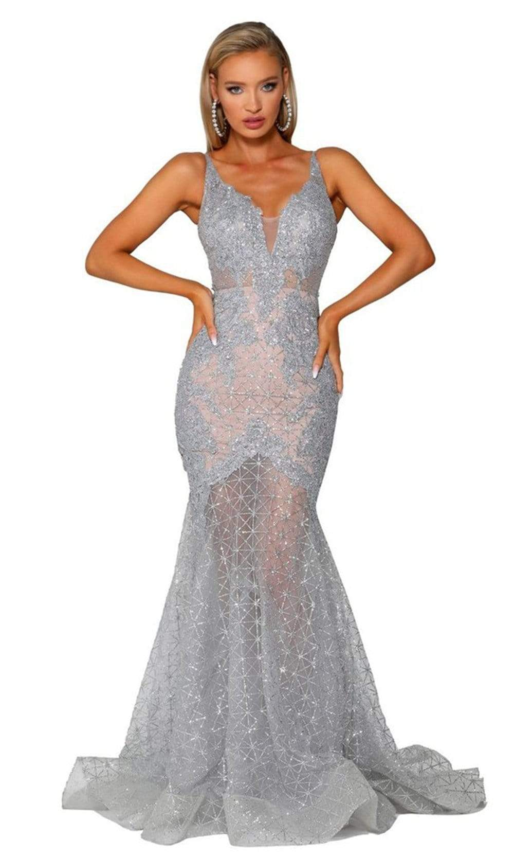 Portia and Scarlett - PS6023 Embellished Deep V-Neck Mermaid Dress from Portia and Scarlett