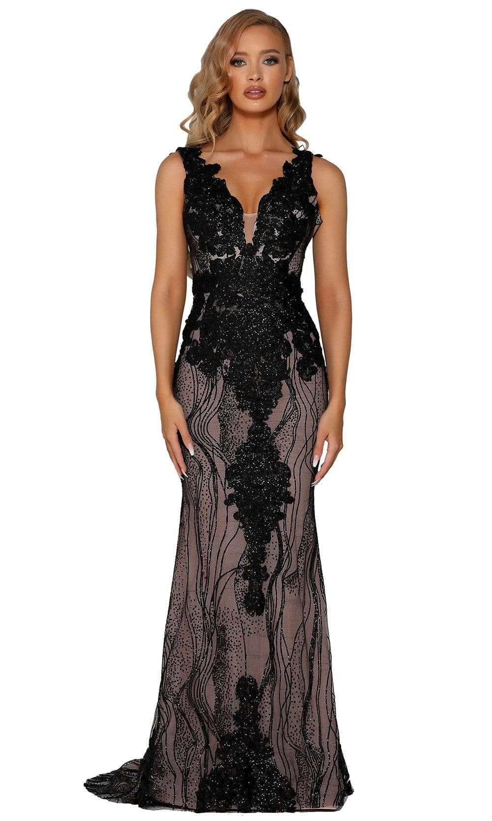 Portia and Scarlett - PS6082 Glitter Lace Appliqued Evening Gown from Portia and Scarlett