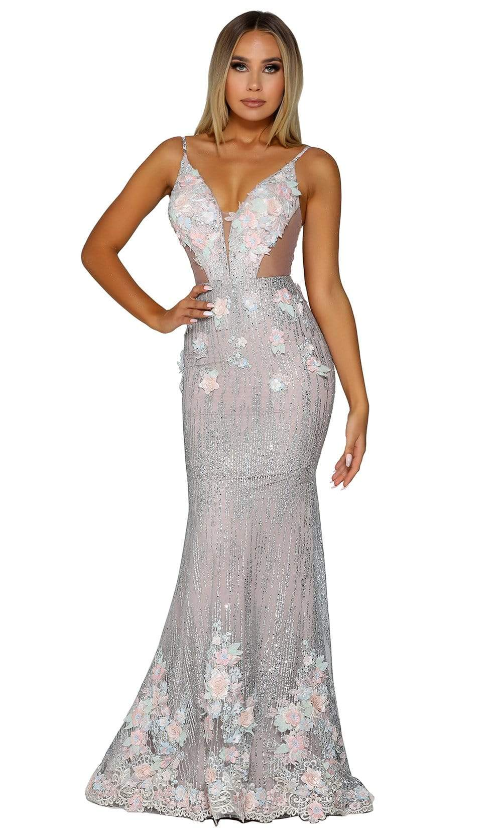 Portia and Scarlett - PS6098 Plunging Floral Appliqued Mermaid Gown from Portia and Scarlett