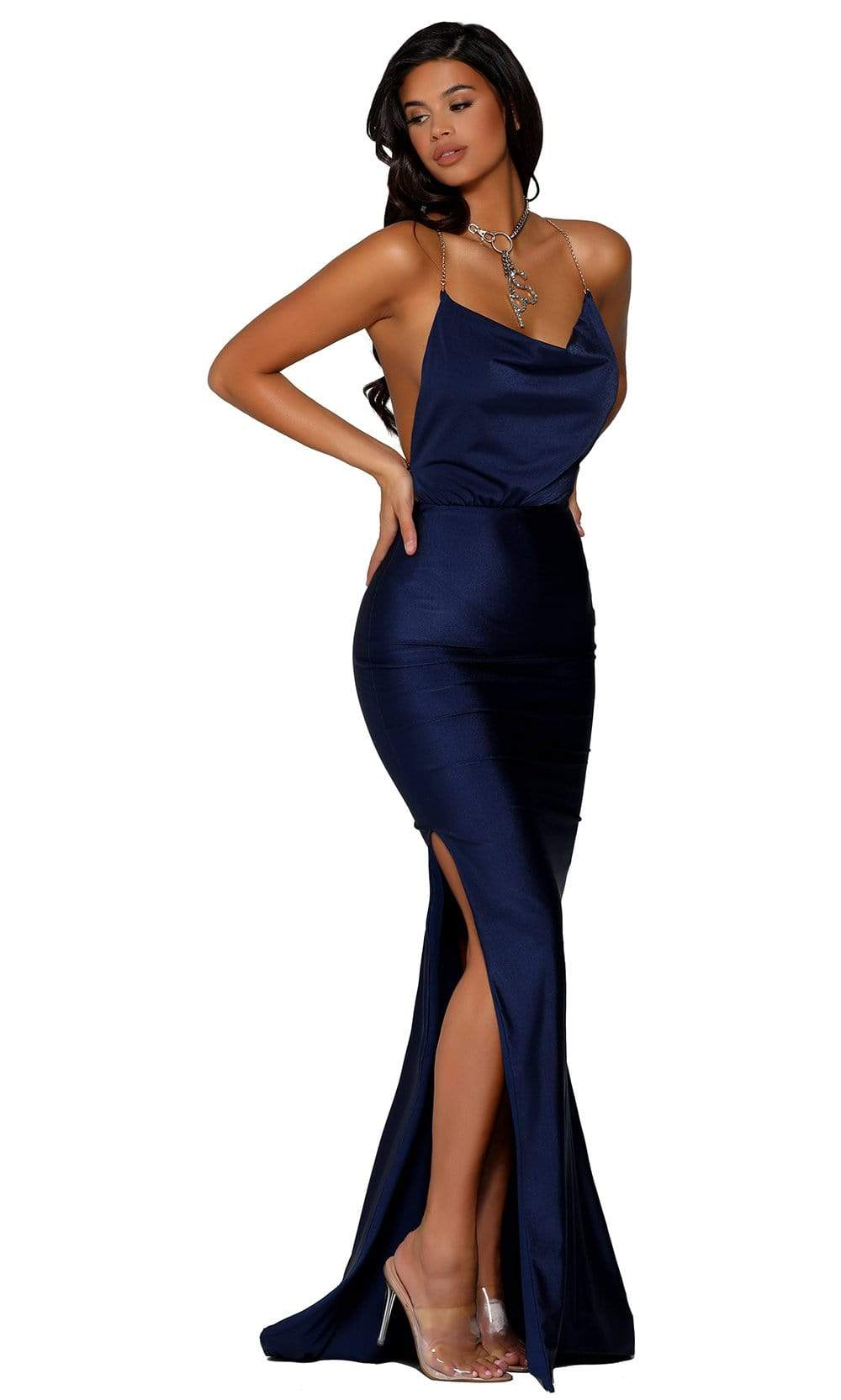 Portia and Scarlett - PS6319 Sleeveless Cowl Neck Metallic Strap Gown from Portia and Scarlett