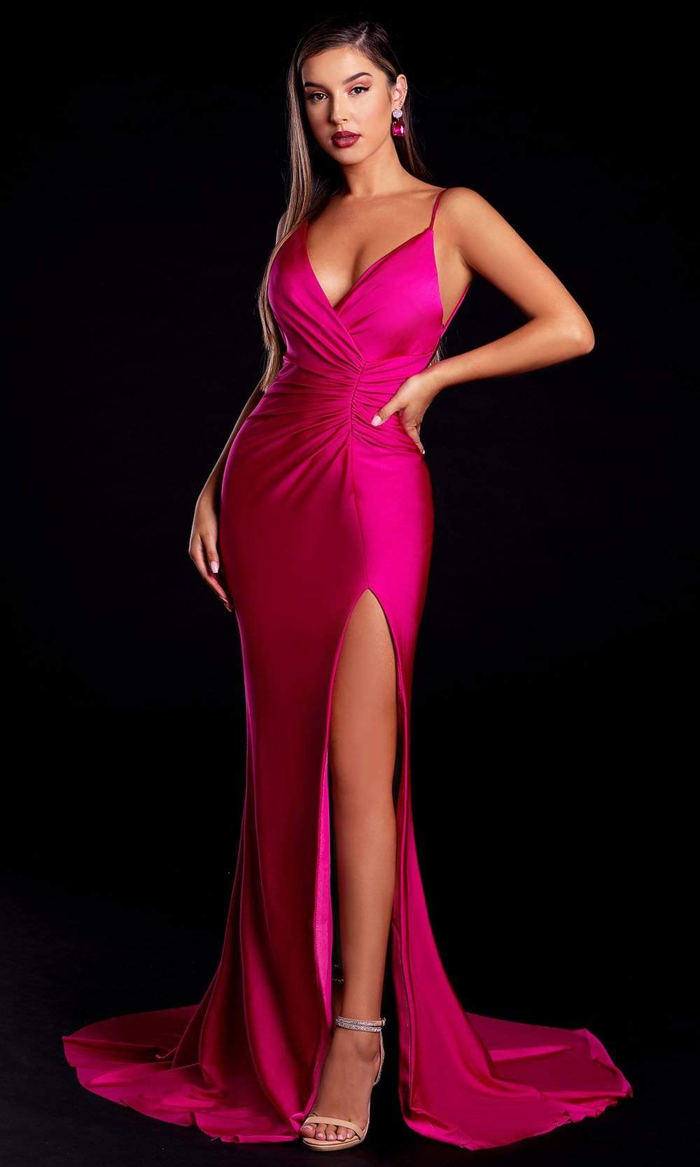 Portia and Scarlett - PS6322 Plunged V-Neck High Slit Sheath Gown from Portia and Scarlett