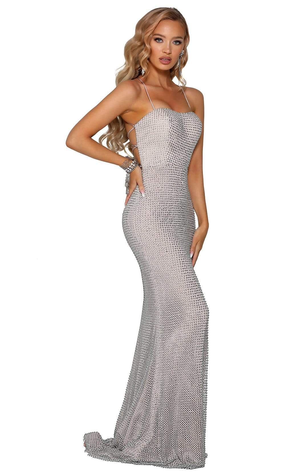 Portia and Scarlett - PS6328 Strappy Open Back Beaded Net Fitted Gown from Portia and Scarlett