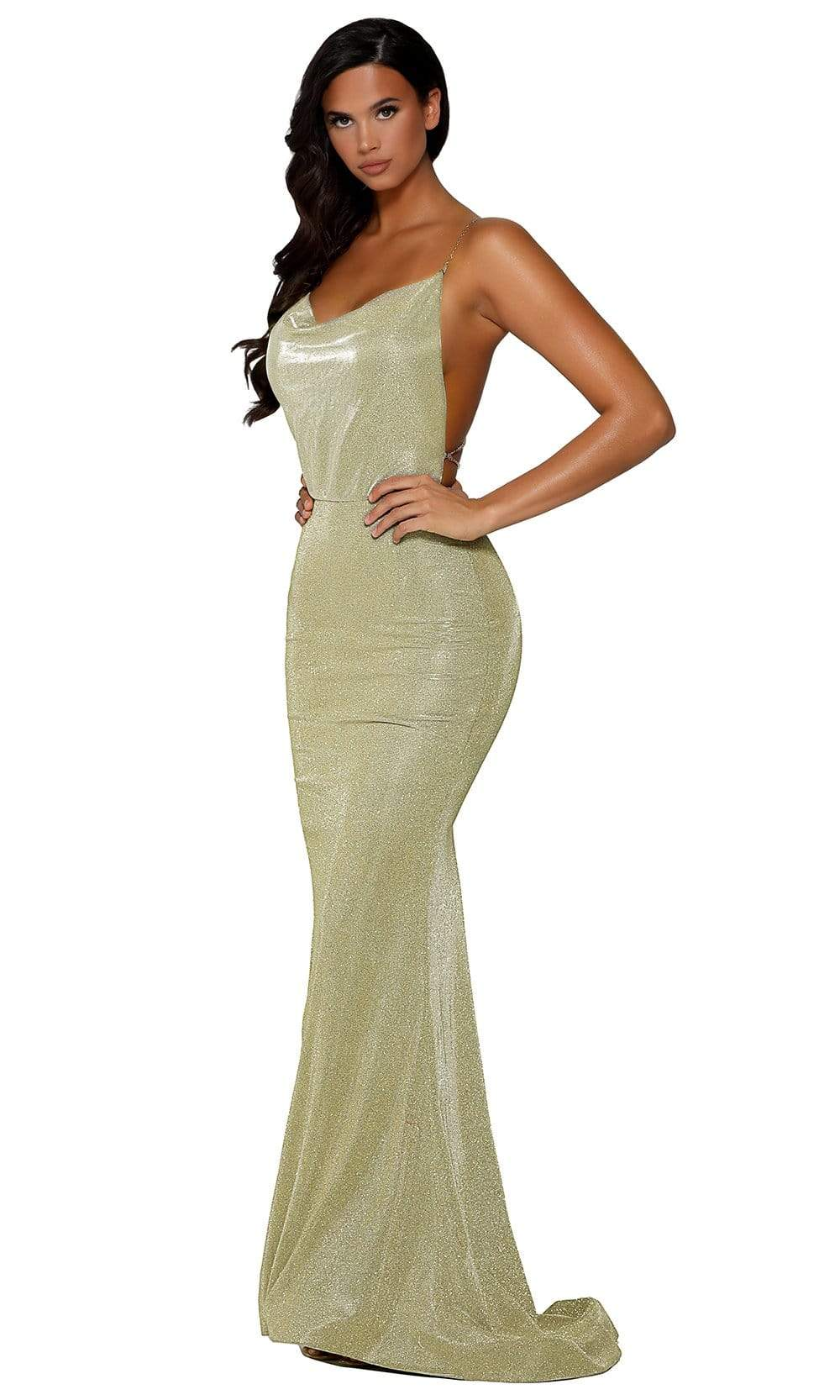 Portia and Scarlett - PS6343 Cowl Neck Metallic Strapped Mermaid Gown from Portia and Scarlett