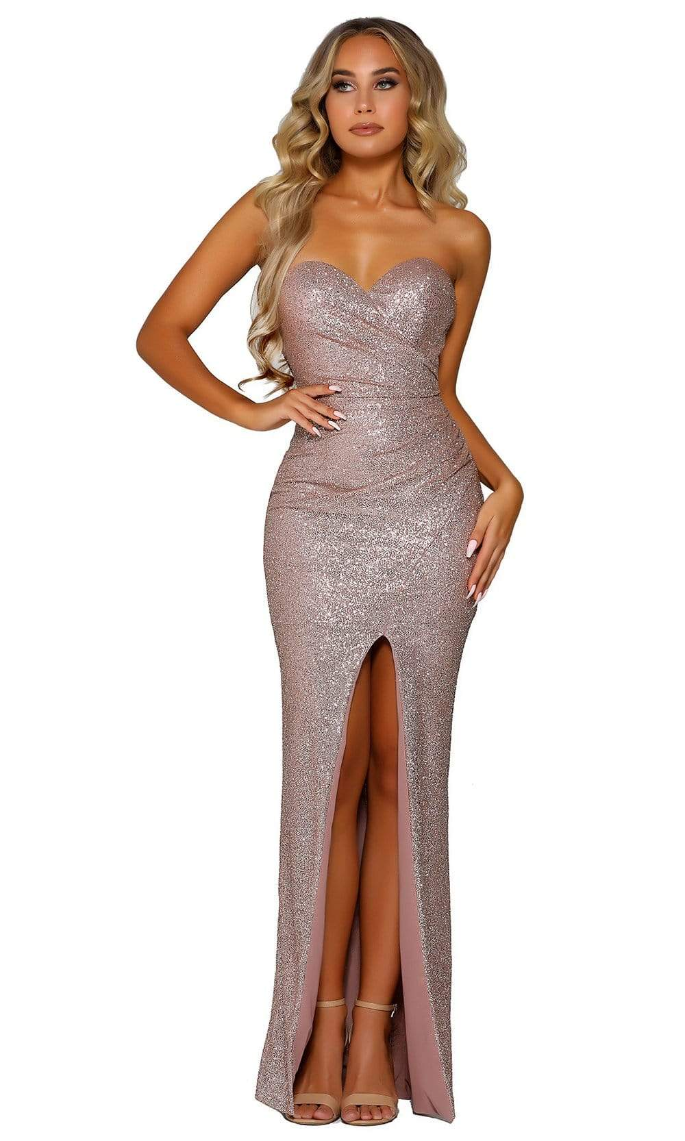 Portia and Scarlett - PS6361 Fitted Glitter Embellished Evening Gown from Portia and Scarlett
