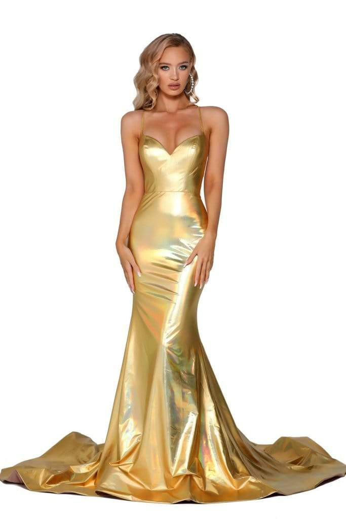 Portia and Scarlett - PS6380 Strappy Open Back Lustrous Mermaid Gown from Portia and Scarlett