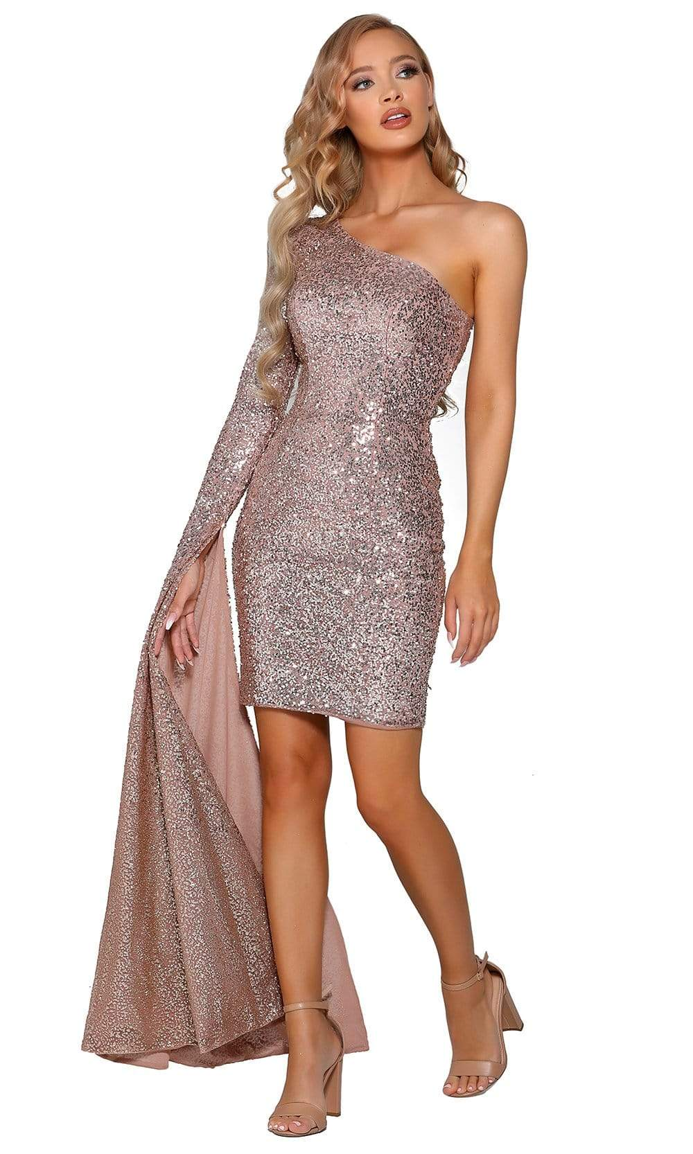Portia and Scarlett - PS6382 Split Bell Sleeve Sequined Sheath Dress from Portia and Scarlett