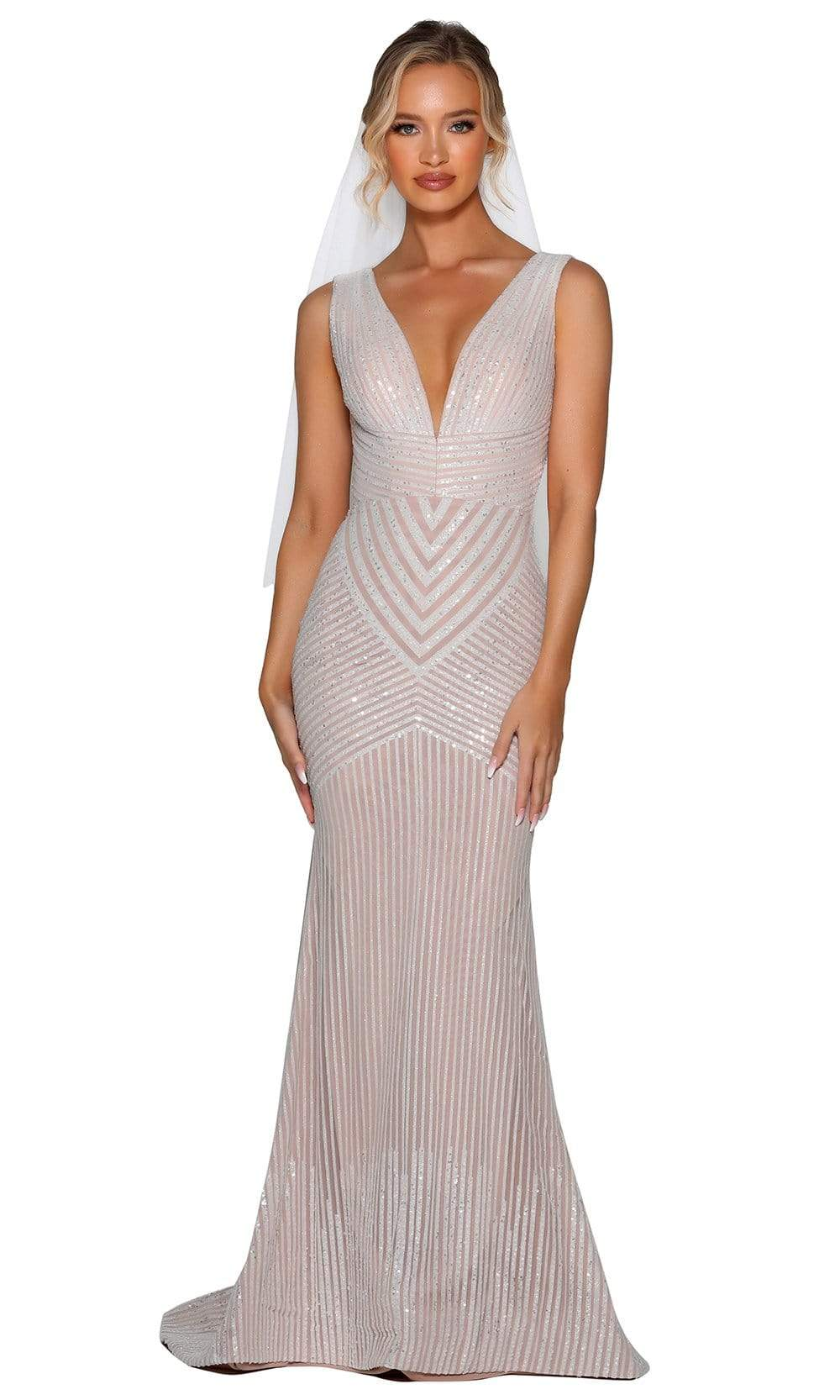 Portia and Scarlett - PSB6808 V Neck Sequined Trumpet Gown from Portia and Scarlett