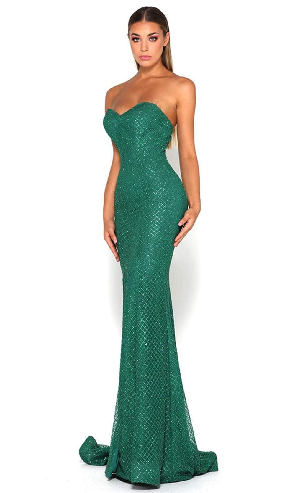 Portia and Scarlett - Tyra Gown High Slit Fitted Glitter Net Gown from Portia and Scarlett