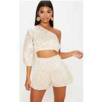 Gold Foil Print A Line Shorts from PrettyLittleThing
