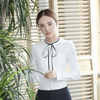 Pintuck Frilled Tie-Neck Blouse from Princess Min