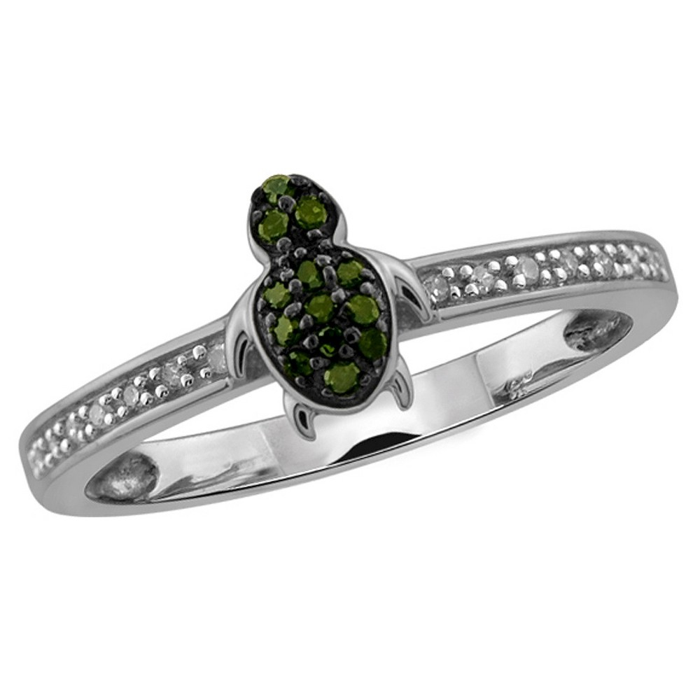 1/10 CT. T.W. Round-Cut Green and White Diamond Prong Set Turtle Ring - White (6) from Distributed by Target