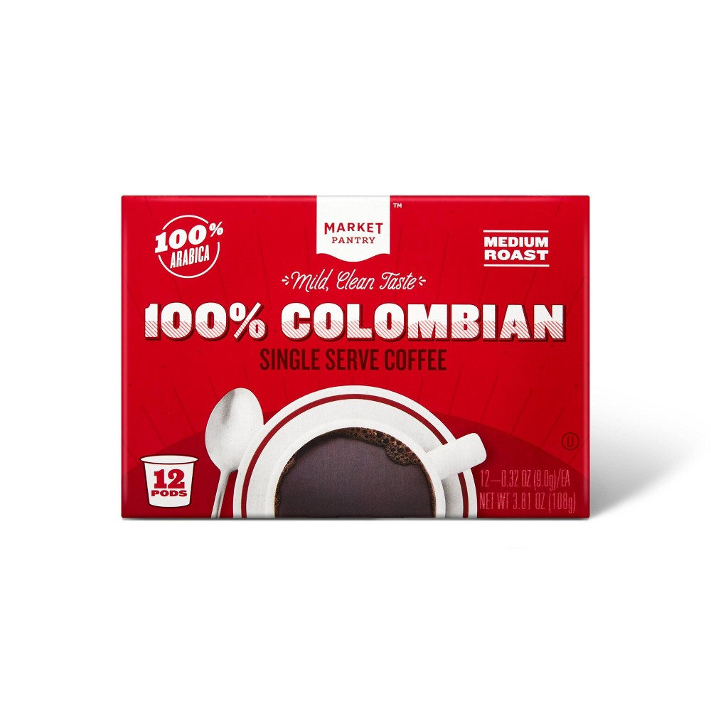 100% Colombian Medium Roast Coffee - Single Serve Pods - 12ct - Market Pantry from Market Pantry