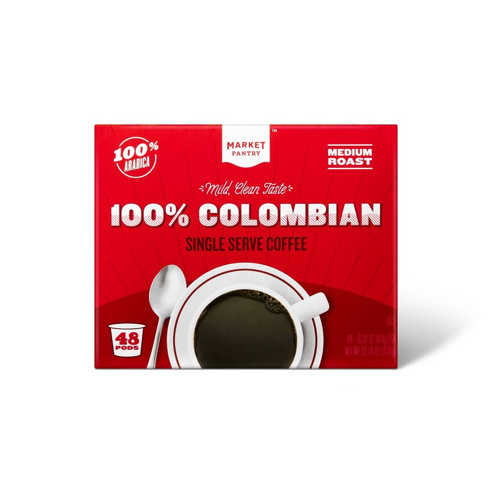 100% Colombian Medium Roast Coffee - Single Serve Pods - 48ct - Market Pantry from Market Pantry