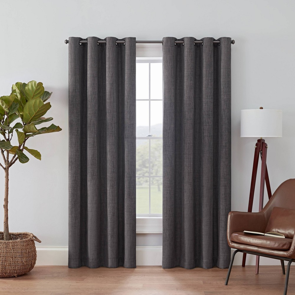 "108""x52"" Rowland Blackout Curtain Panel Charcoal - Eclipse"