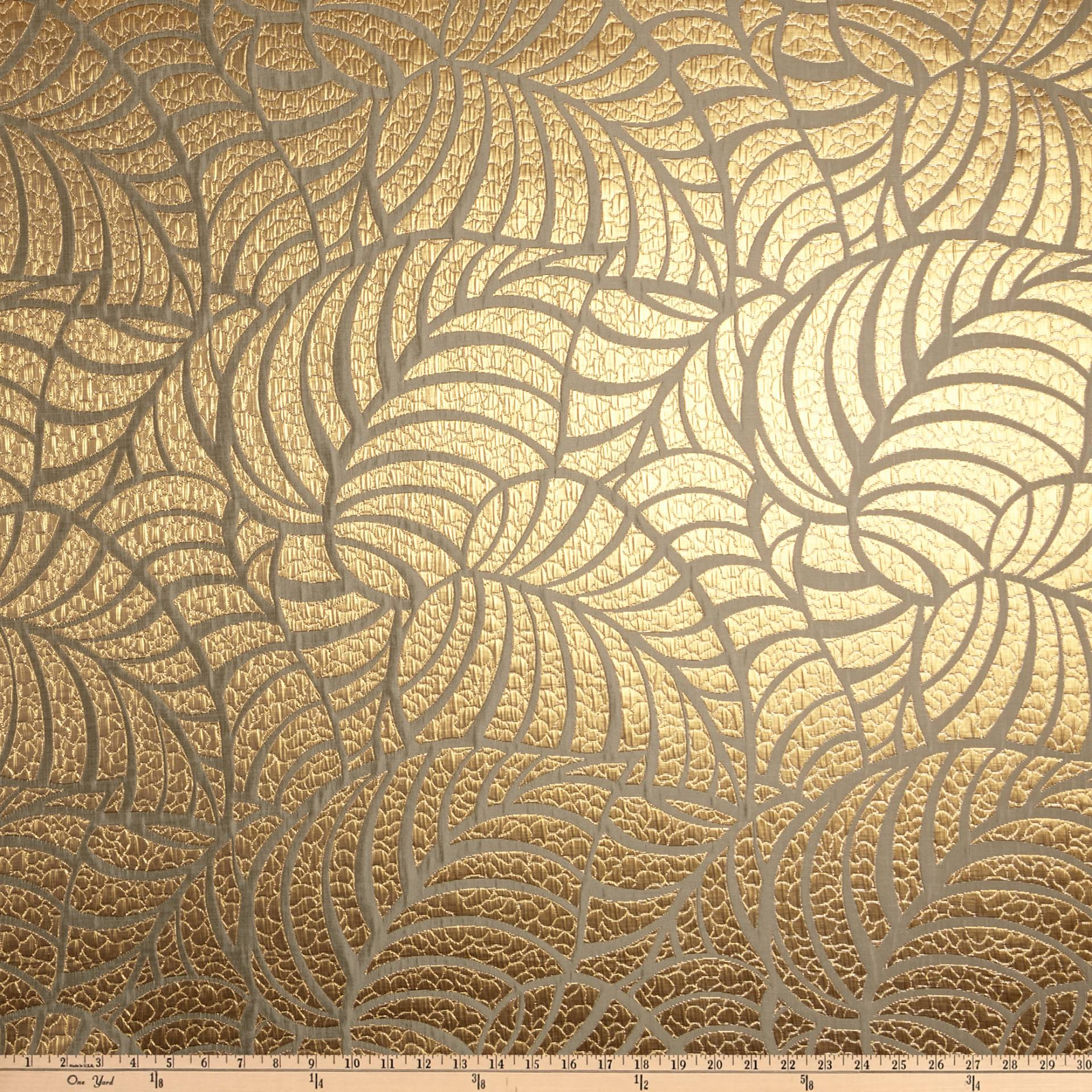 112'' Wedding Table Top Amazon Leaf Jacquard Golden Fabric