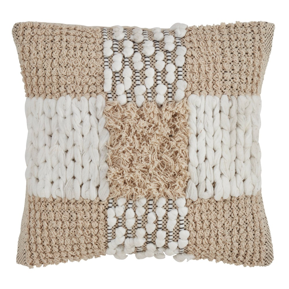 "18"" Moroccan Pillow Down Filled Natural - SARO Lifestyle from Saro Lifestyle"