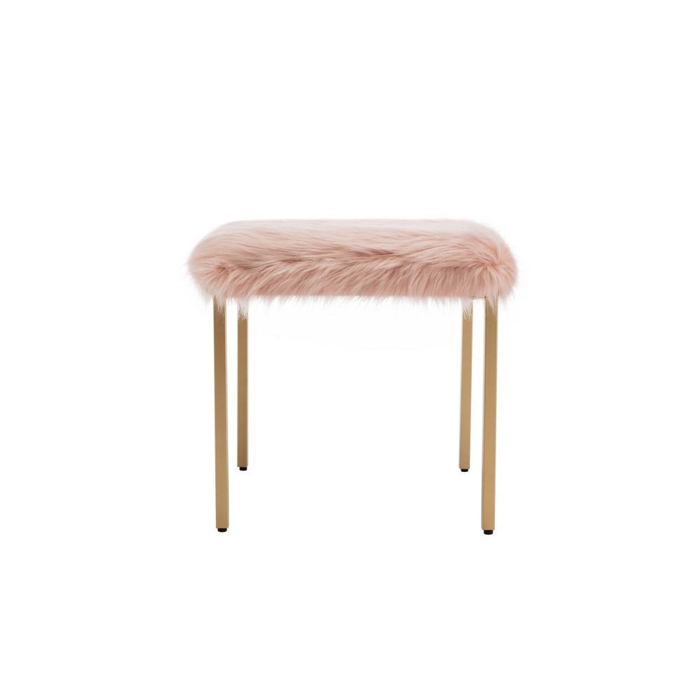 "18"" Square Metal Ottoman Pink Faux Fur - WOVENBYRD from WOVENBYRD"