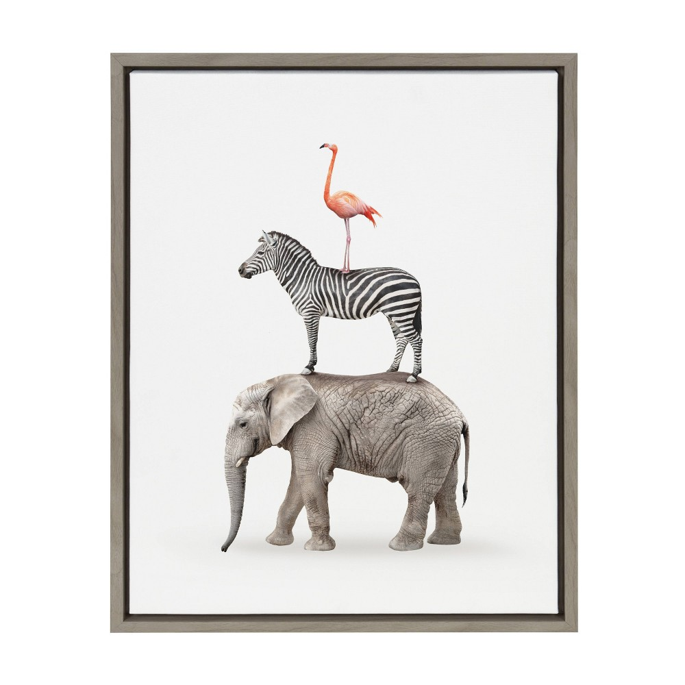 "18"" x 24"" Slyvie Stacked Safari Animal Framed Canvas Wall Art by Amy Peterson Gray - Kate and Laurel from Kate & Laurel All Things Decor"