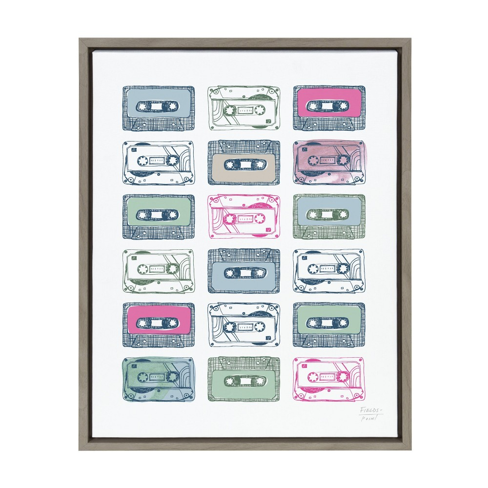 "18"" x 24"" Sylvie Cassettes Framed Canvas Wall Art by Statement Goods Gray - Kate and Laurel from Kate & Laurel All Things Decor"