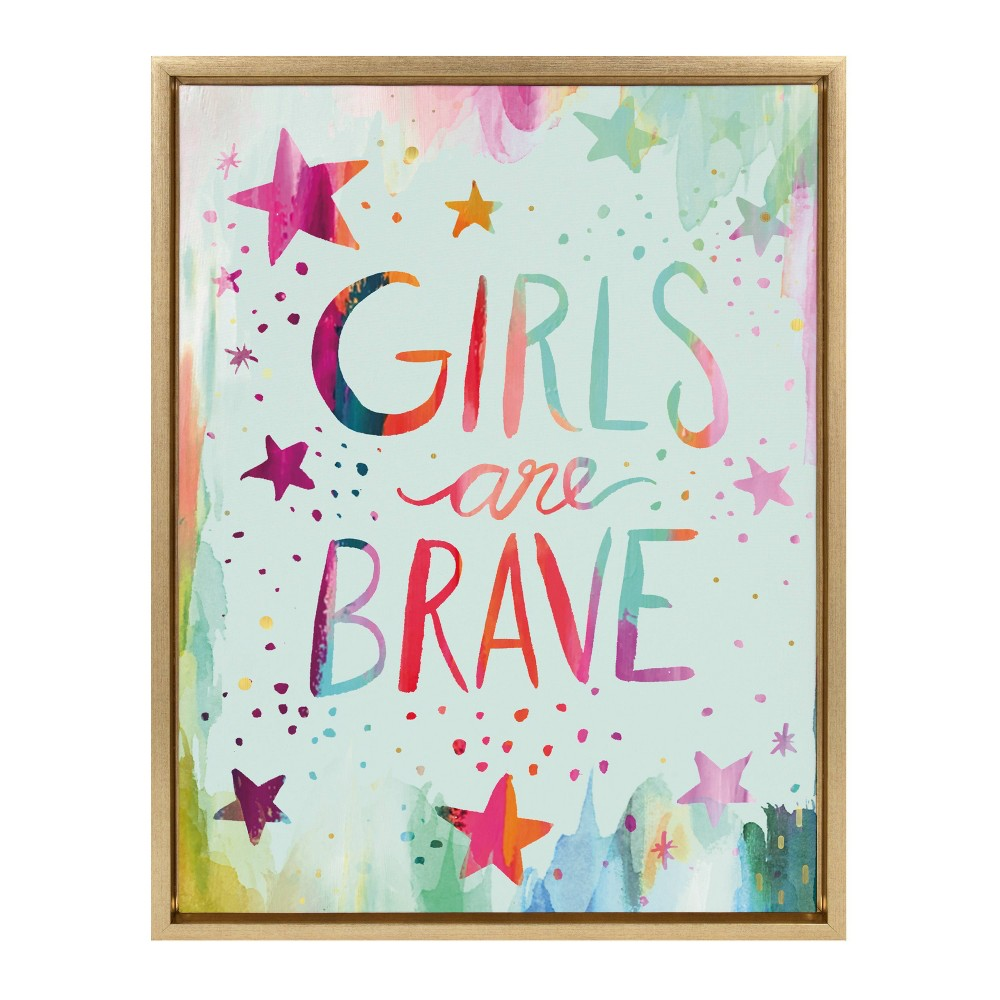 "18"" x 24"" Sylvie Girls are Brave Framed Canvas Wall Art by Ettavee Gold - Kate and Laurel from Kate & Laurel All Things Decor"