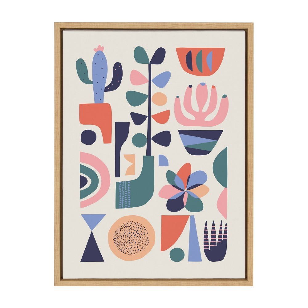 "18"" x 24"" Sylvie Mid Century Succulent Framed Canvas Wall Art by Rachel Lee Natural - Kate and Laurel from Kate & Laurel All Things Decor"