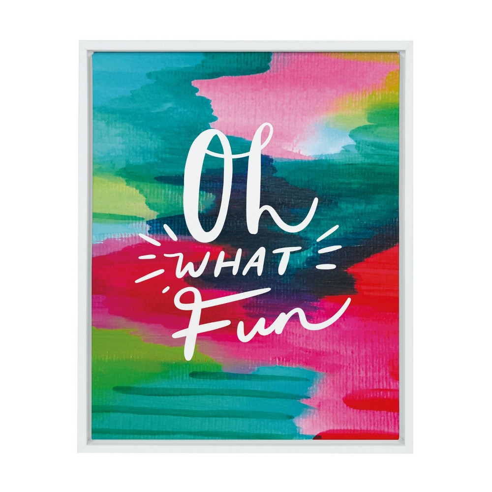 "18"" x 24"" Sylvie Oh What Fun by Jessi Raulet of Etta Vee Framed Canvas White - Kate & Laurel All Things Decor from Kate & Laurel All Things Decor"