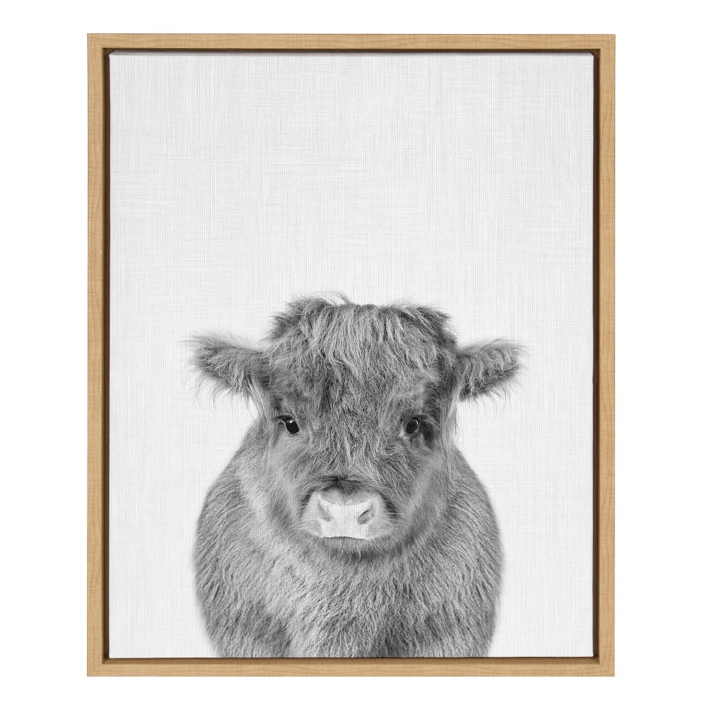 "18"" x 24"" Sylvie Baby Cow Framed Canvas by Simon Te Tai Natural - Kate and Laurel from Kate & Laurel All Things Decor"
