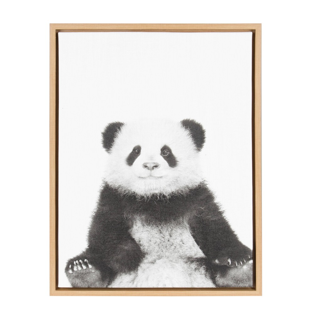 "18"" x 24"" Sylvie Panda Framed Canvas by Simon Te Tai Natural - Kate and Laurel from Kate & Laurel All Things Decor"