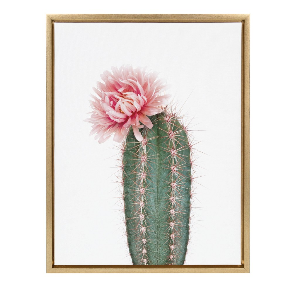 "18"" x 24"" Sylvie Pink Cactus Flower Framed Canvas by Amy Peterson Gold - Kate and Laurel from Kate & Laurel All Things Decor"