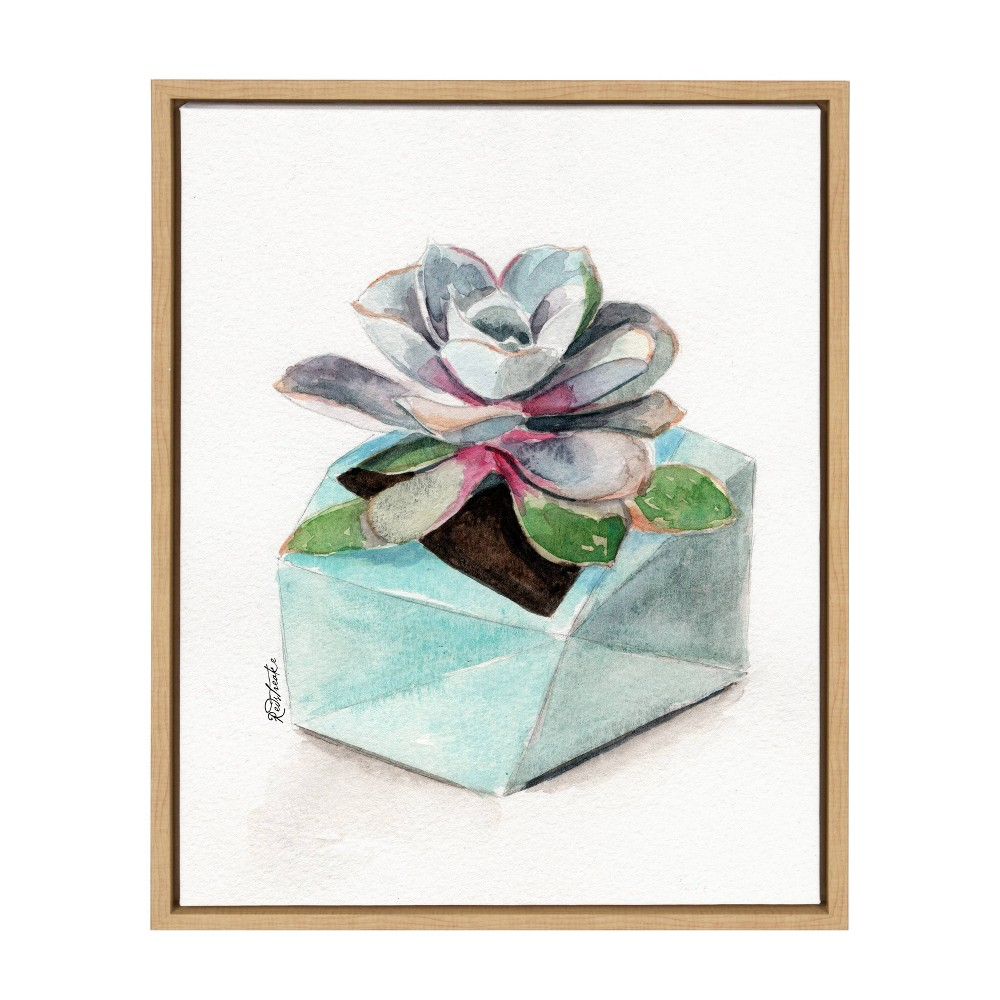 "18"" x 24"" Sylvie Succulent 3 Framed Canvas by Jennifer Redstreake Geary Natural - Kate and Laurel from Kate & Laurel All Things Decor"