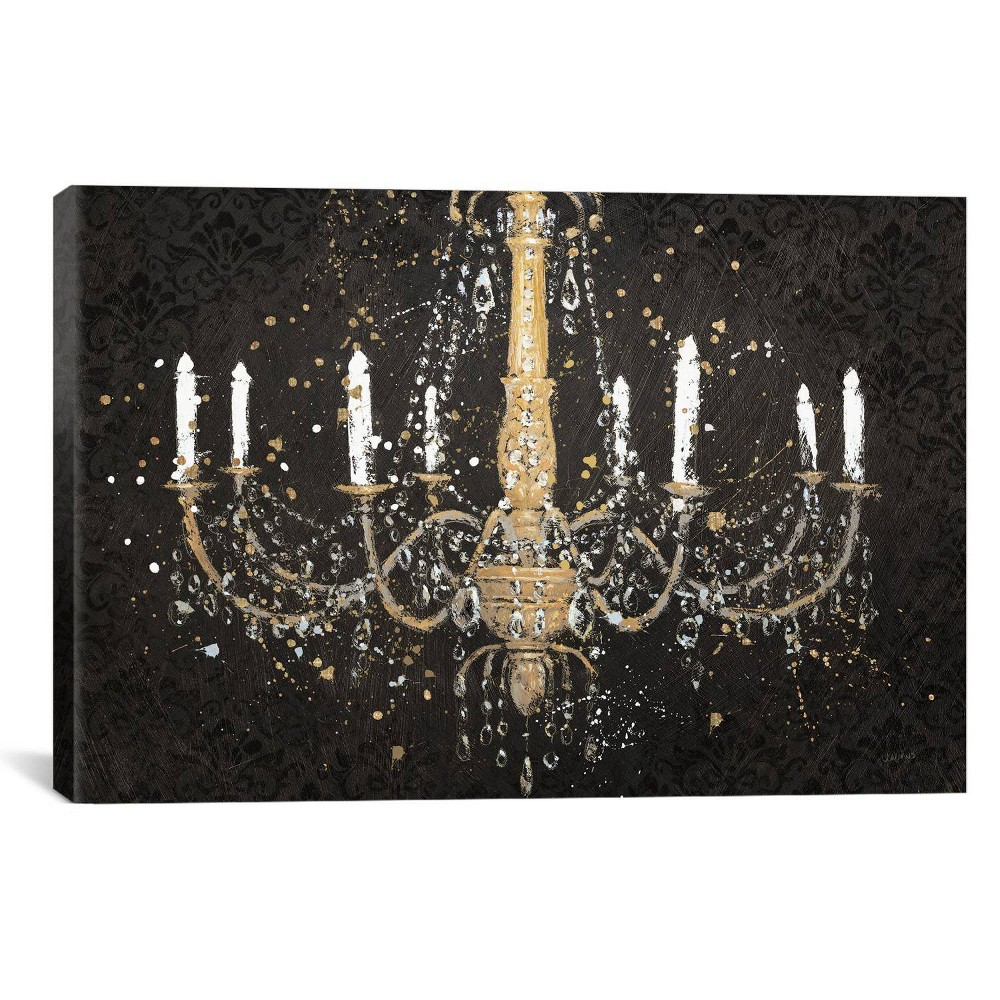 "18""x26"" Grand Chandelier Black I by James Wiens Unframed Wall Canvas Print Black - iCanvas"