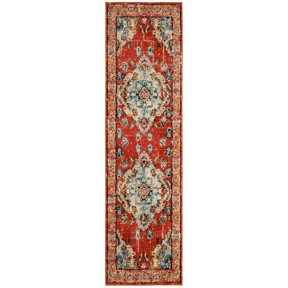 "2'2""X22' Loomed Medallion Runner Rug Orange - Safavieh, Orange/Light Blue"