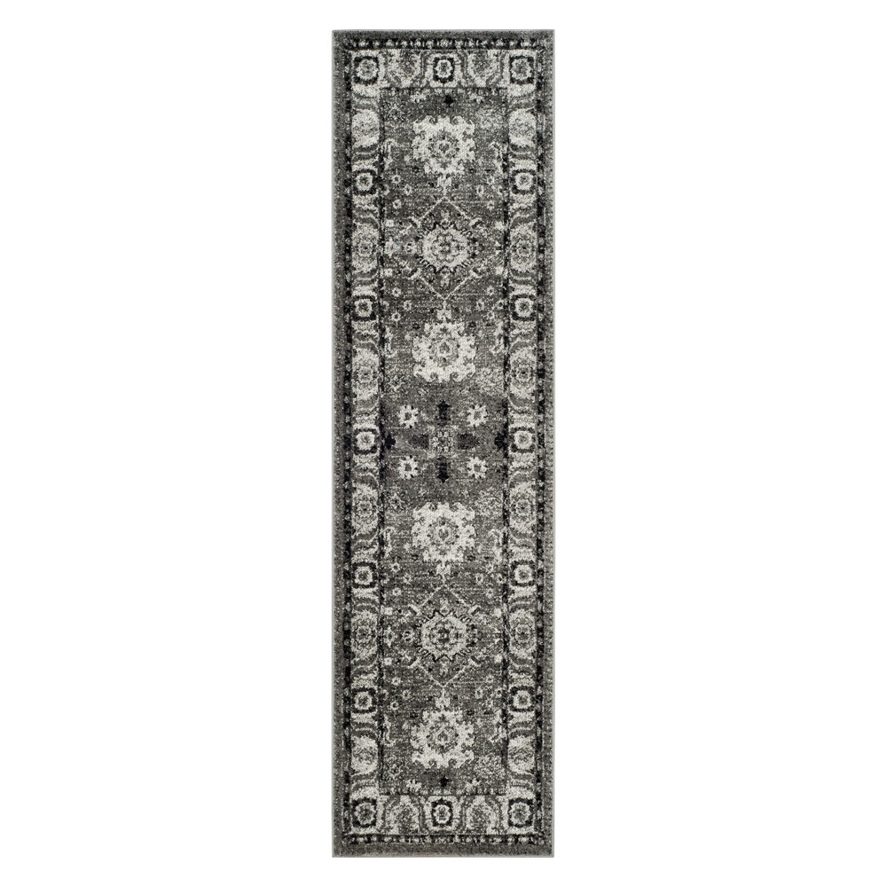 "2'2""X8' Floral Loomed Runner Gray/Black - Safavieh, Size: 2'2""X8' RUNNER"