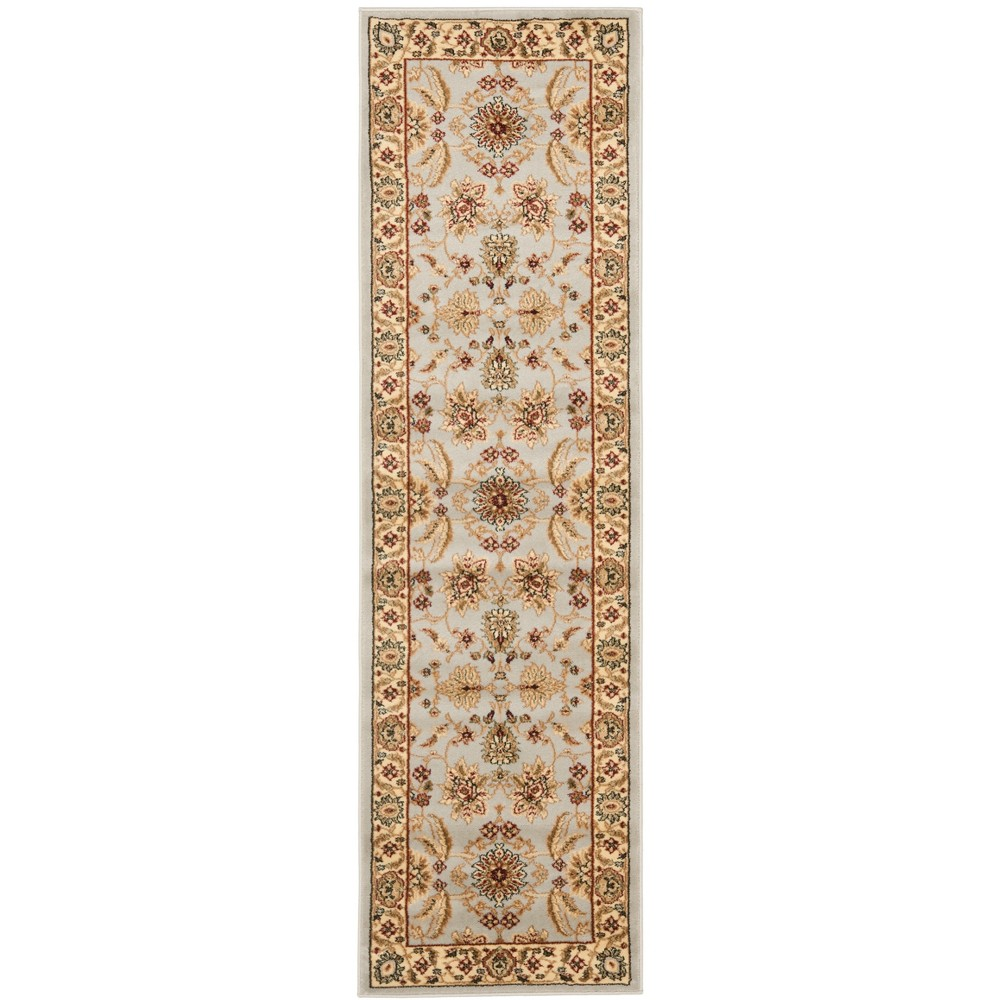 "2'3""X12' Loomed Floral Runner Rug Gray - Safavieh, Gray/Beige"