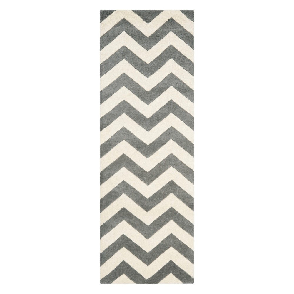 "2'3""X15' Chevron Runner Dark Gray/Ivory - Safavieh, Size: 2'3""X15' RUNNER"