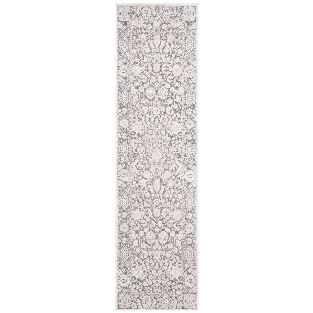 "2'3""X8' Loomed Floral Runner Rug Dark Gray/Cream - Safavieh, Size: 2'3""X8' RUNNER, Dark Gray/Ivory"