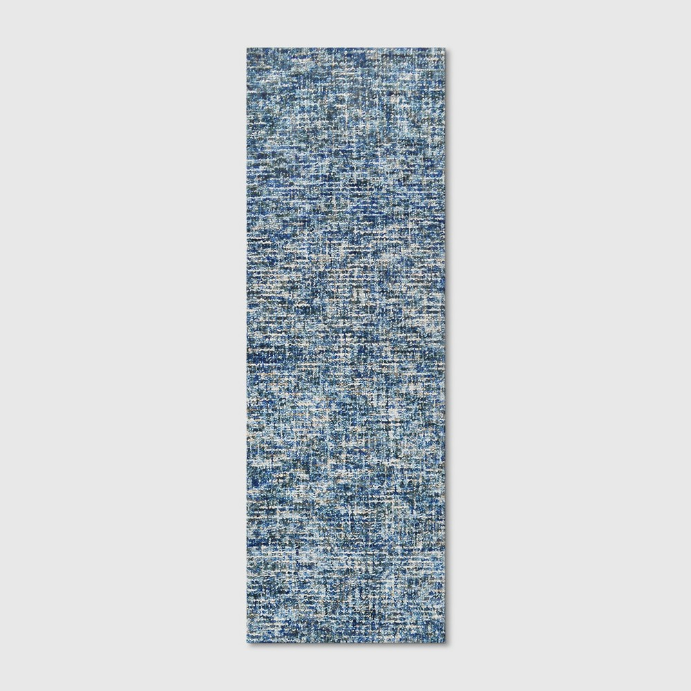 "2'4""x7' Tie Dye Design Tufted Wool Runner Blue - Project 62 from Project 62"